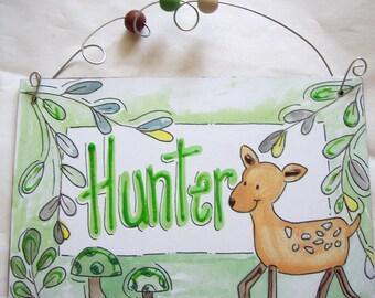 Cute Deer Hunter name sign coordinates with Burlington bedding