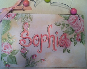 Hand personalized shabby chic roses name sign