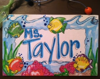 Hand personalized fishy name sign