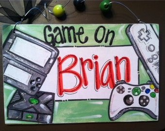 Hand personalized xbox and video game name room sign