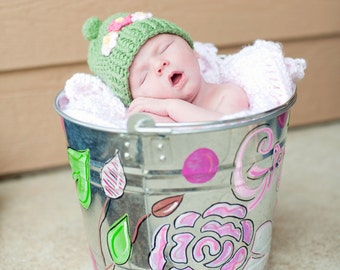 Handpainted personalized bucket perfect for gift giving or photo ops you choose style