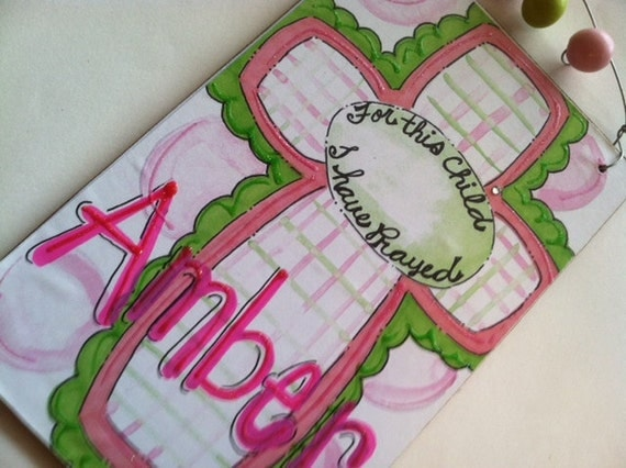 Cross personalized name sign perfect for new baby or christening gift