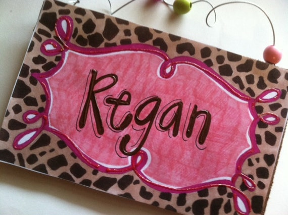 Cheetah and hot pink personalized name sign with blingy glitter