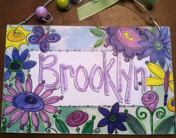 Hand personalized purple and lavender funky flowers name room sign