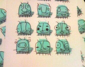 Bug's Dozen Aqua -silkscreen print.