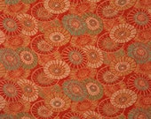Traditional Umbrella Patterns on Orange - Silk Kimono Fabric Yardage