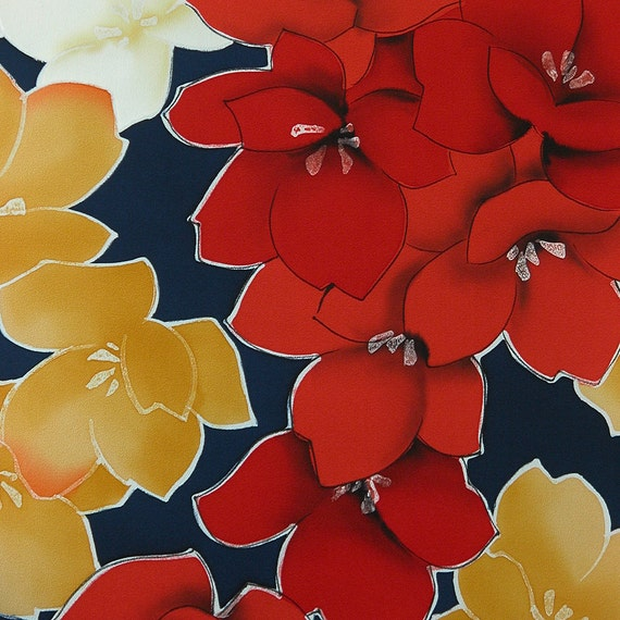 Crazy Bold Camellias on Navy Silk - Silk Kimono Fabric Yardage