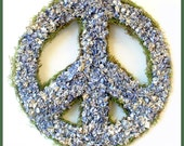 Blues for Peace dried flower wreath peace symbol