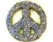 Peaceful Blue  dried flower peace symbol wreath