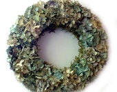 Vintage blue green hydrangea dried flower wreath