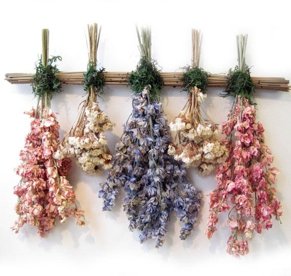 Pink blue white larkspur statice dried flower sampler