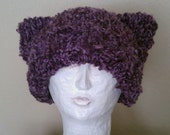 Purple Kitty hat for tartan