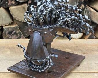 Found Object Art Sculpture FREEDOM Dreadlocks Head Bust