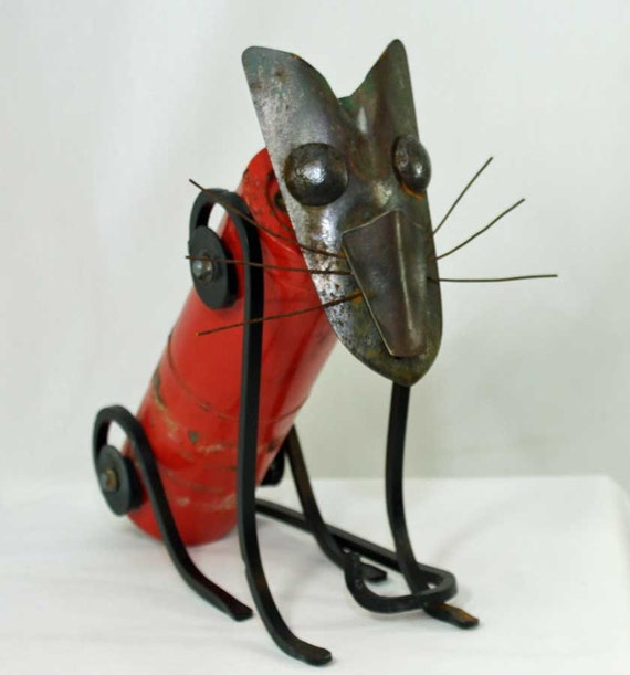 Cat sculpture Red and black Cat from found objects