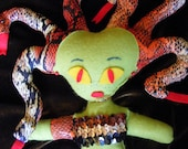Medusa the Gorgon handmade OOAK cloth art doll.