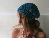 teal blue, green  chunky hat