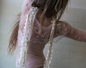 Pink shrug / lace shrug / lace knit shrug /  pink mohair and silk  web shrug