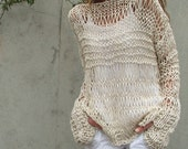Cream cotton linen sweater  / loose knit /summer grunge sweater LAST ONE