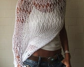 White shrug loose knit  white cream Eco cotton loose weave hand knit shrug 3 left in this shade