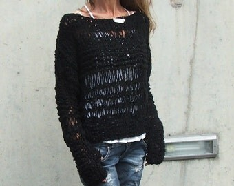 Black sweater / Black knit sweater over sized grunge sweater Ltd Edition