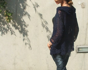 Navy cotton and linen throw on loose knit sweater / cardigan /LTd Edition LAST ONE