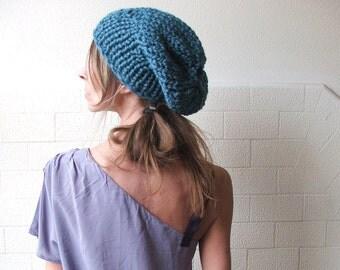 teal blue hat, slouchy hat, beanie,  women's chunky blue beanie, hat . chunky hat, chunky beanie