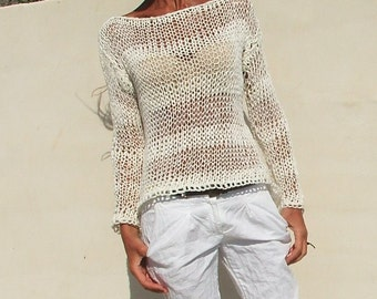 white sweater / White cotton mix loose knit / summer sweater