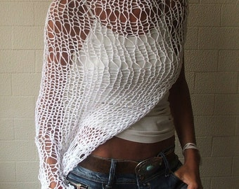 vory White shrug loose knit  Eco cotton loose weave hand knit shrug 5 left in this shade
