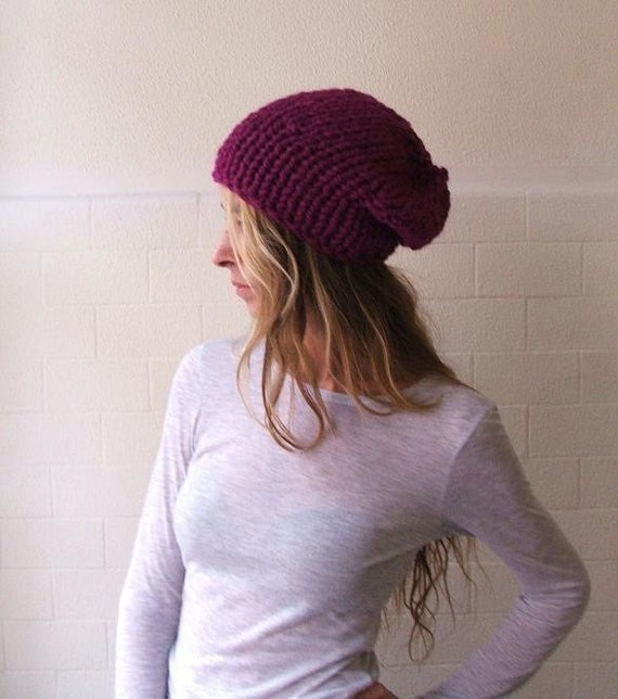 pink beanie hat  pink hat / purple hat / Hibiscus chunkier hat, vegan friendly