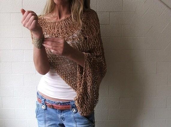 brown shrug, loose weave, cotton shrug, womens shrug, kimono sleeve shrug, open weave,  Ltd Edition left in this shade