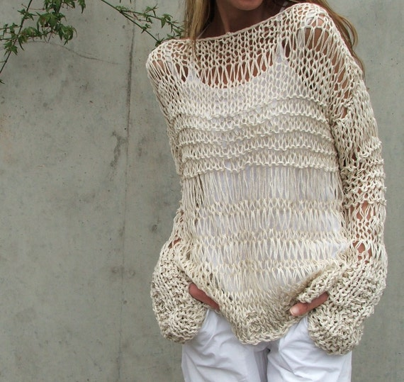 Reserved for ssf168 cream sweater cotton and linen summer grunge sweater iLE AiYE Exclusive range