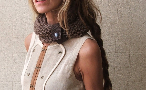 Brown scarf cowl, brown collar, scarf, brown cowl, neck warmer, button up scarf, with removable Leather strap, READY TO SHIP