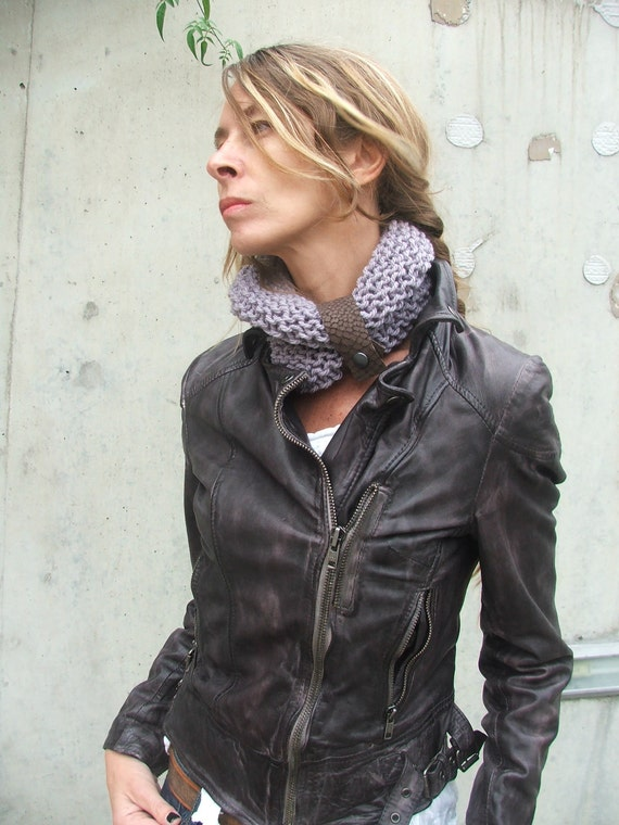 Lilac scarf, lilac collar, button up scarf, neckwarmer, women's circular scarf,  ClickIT Collar with a brown leather strap,