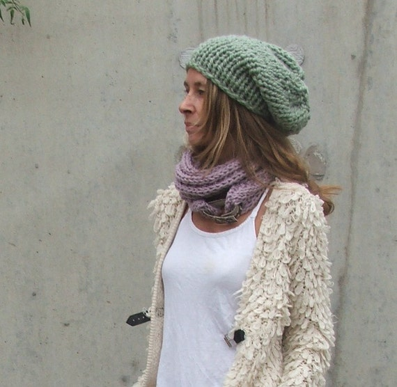 green hat, green beanie hat, pale green chunky hat, winter hand knit hat READY TO SHIP