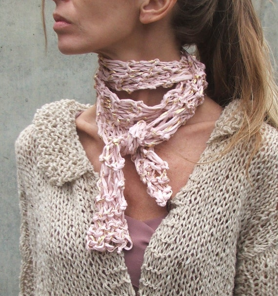 Pale pink and gold leaf scarf