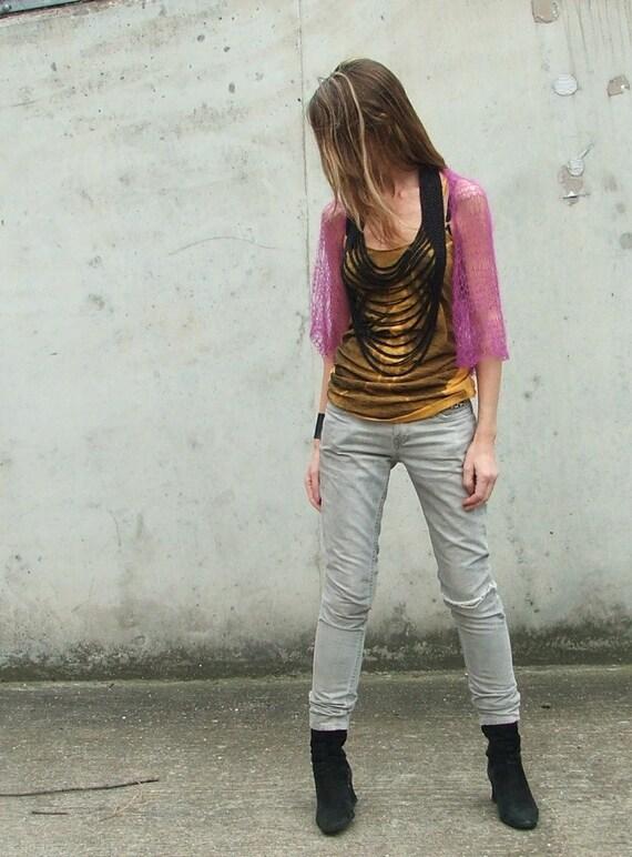 violet / fuschia summer loose weave light weight shrug