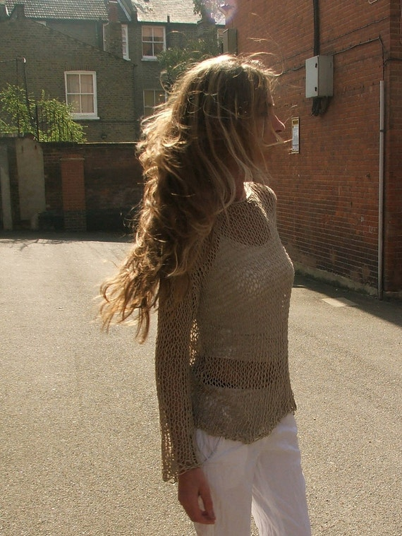 Khaki beige loose knit summer sweater in a cotton linen silk mix yarn LAST ONE in this shade