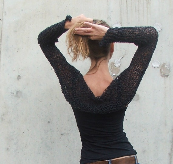 Almost black cotton mix long sleeved shrug Last one in this shade