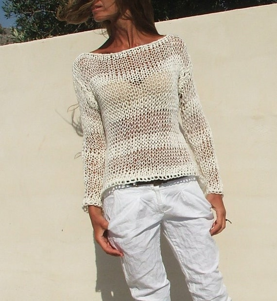 Summer Sweater Knitting Patterns : white sweater White cotton mix loose knit stripe sweater