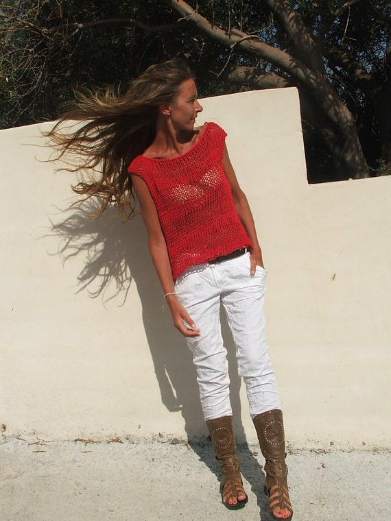 Red cotton and linen mix tank OOAK