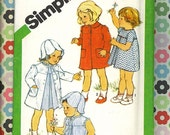 vintage Simplicity pattern Toddler dress coat and hat 1980