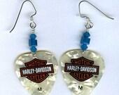 Harley Davidson guitar pick earrings. Swarovski crystal beads \/ Sterling Silver wires