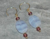 Blue Lace Agate, Amethyst, and Silver - Lucie Earrings