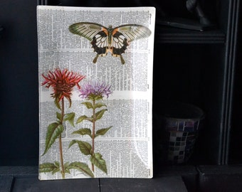Bibliophile Decoupage Large Tray - Papercut Butterfly and Flowers Double Dictionary Page green purple black white home decor glass plate