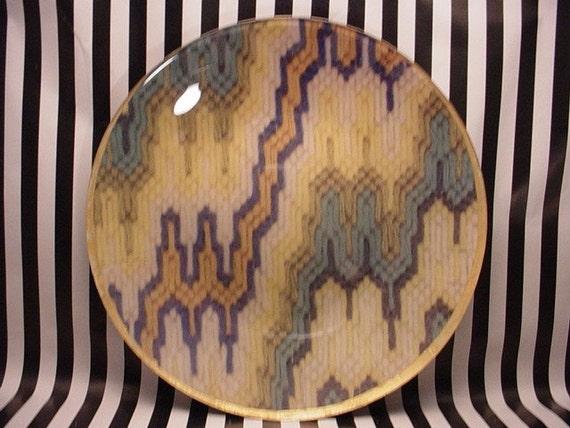 green and cream bargello plate