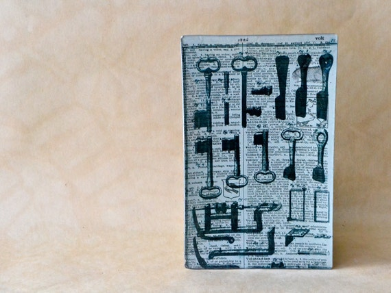 Bibliophile Decoupage Tray - Diderot Key Print Dictionary Page Black White Silver glass plate