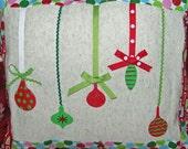 SALE Handpainted Ornament Pillow Cover- Christmas- home decor