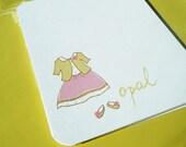 Pretty Pink Dress Personalized Stationery and Sticker Gift Set