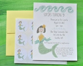 Mermaid Childrens Birthday Party Personalized Invitations plus Stickers Set
