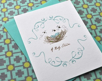 Birds and Bees Egg Nest Custom Baby Boy Girl or Twins Shower Invitation Set with Stickers